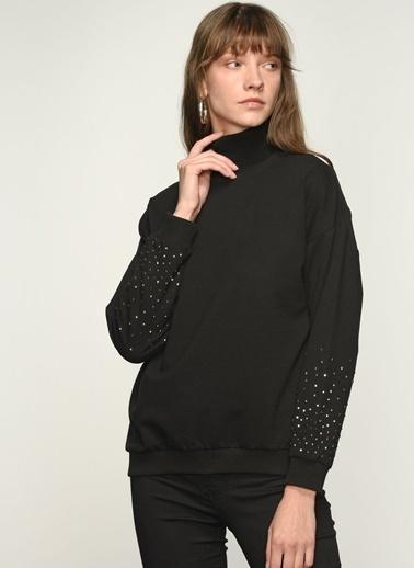 NGSTYLE NGKAW21SW0037 Kol Boncuk İşlemeli Sweatshirt Siyah